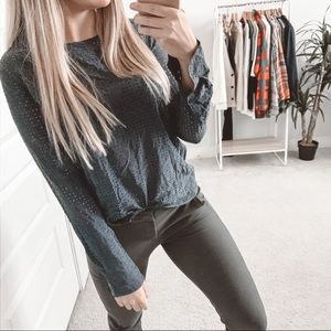 Equipment Perforated Silk Long Sleeve Blouse Navy